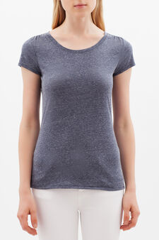 T-shirt with round neck, Navy Blue, hi-res