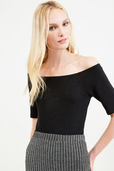 Ribbed bodysuit with boat-neck, Black, hi-res
