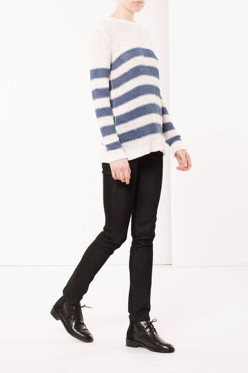 Striped sweater, White/Blue, hi-res