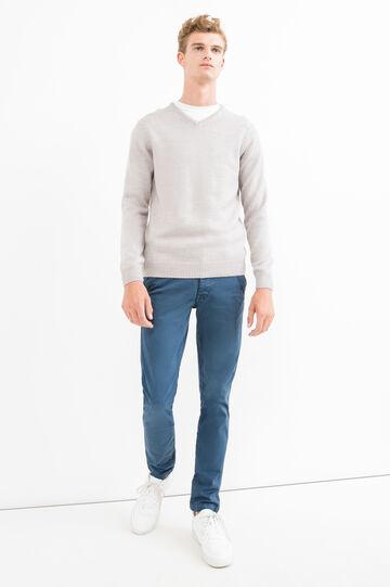 Premium slim-fit chino trousers, Blue, hi-res