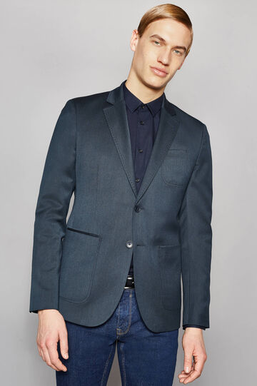 Elegant, slim-fit jacket with lapel collar, Navy Blue, hi-res