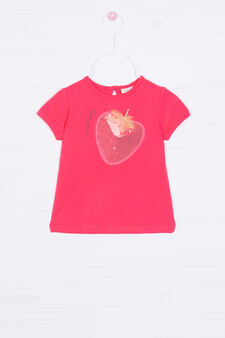 T-shirt cotone stretch con patch, Rosso, hi-res