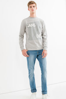 Mélange cotton sweatshirt with ribbed neckline, Grey Marl, hi-res