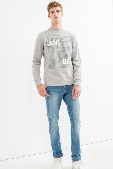 Mélange cotton sweatshirt with ribbed neckline, Grey Marl, hi-res