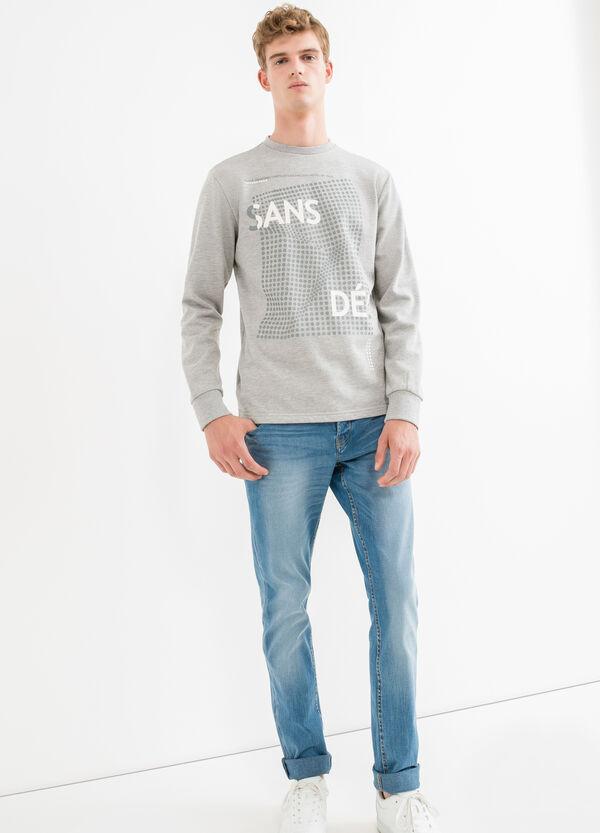 Mélange cotton sweatshirt with ribbed neckline | OVS