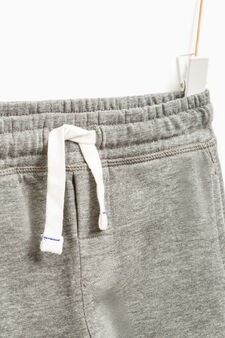 Pantaloni tuta puro cotone tinta unita, Grigio melange, hi-res
