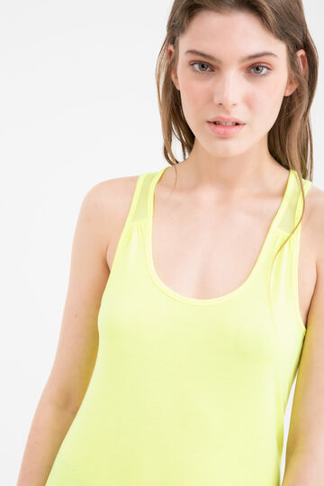 Viscose blend top with inserts, Lime Green, hi-res