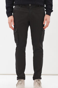 Stretch cargo chinos, Black, hi-res