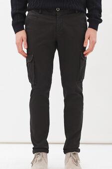 Pantaloni chino cargo stretch, Nero, hi-res
