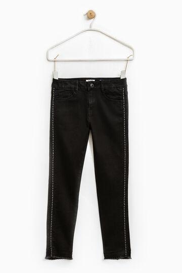 Diamanté skinny-fit jeans, Black, hi-res