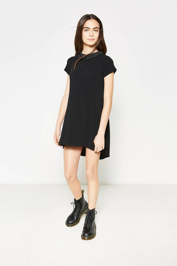 Teen knitted dress with asymmetric hem, Black, hi-res
