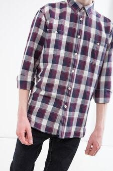 Camicia misto lino e cotone a quadri, Blu/rosso, hi-res
