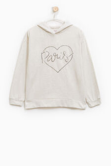 Hoodie with sequins, Grey Marl, hi-res