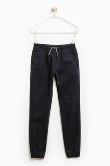 Cotton trousers with drawstring, Blue, hi-res