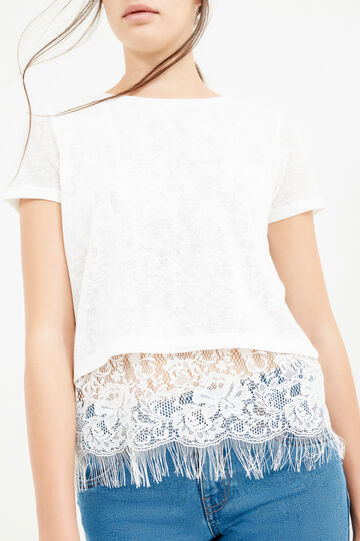 Solid colour cropped T-shirt with lace, Milky White, hi-res