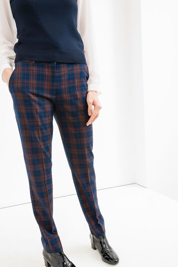 Stretch check viscose trousers, Blue/Red, hi-res
