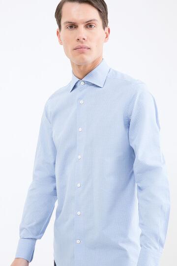 Camicia cotone quadretti slim fit, Blu chiaro, hi-res