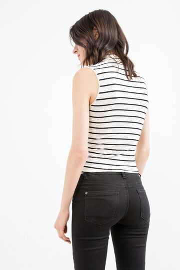 Stretch viscose top with striped pattern, White/Black, hi-res