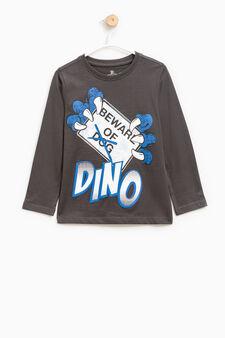 T-shirt puro cotone maxi stampa, Grigio scuro, hi-res