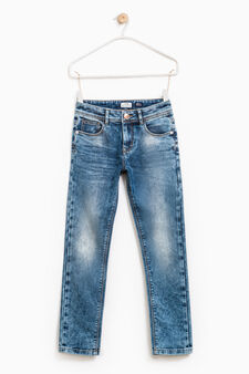 Worn-effect stretch jeans, Soft Blue, hi-res