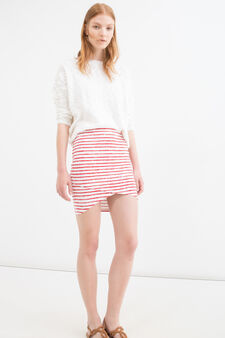 Stretch striped pencil skirt, White/Red, hi-res