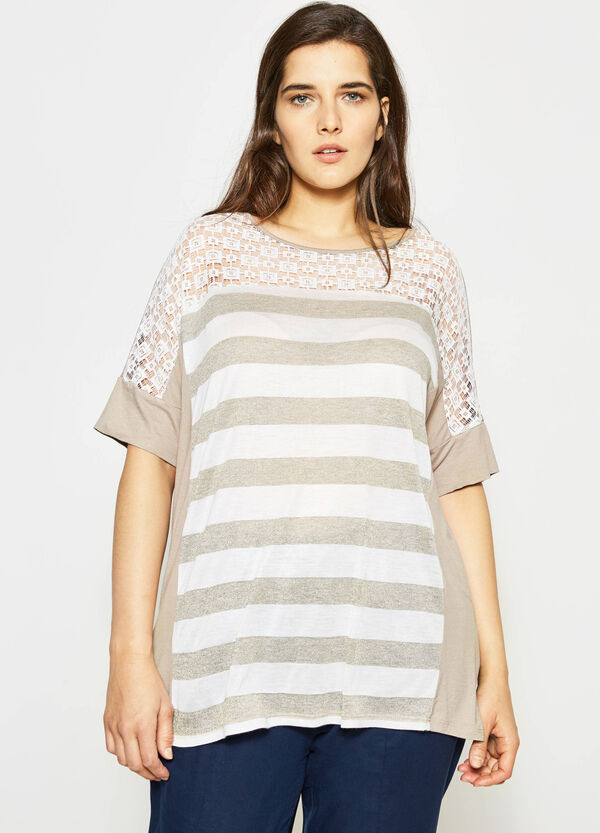 Curvy openwork striped T-shirt | OVS