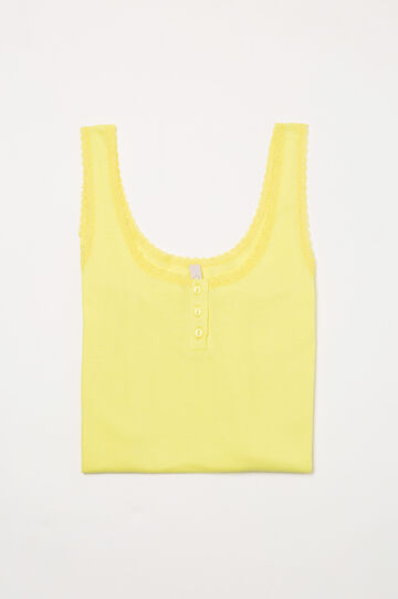 Solid colour cotton pyjama vest top, Yellow, hi-res