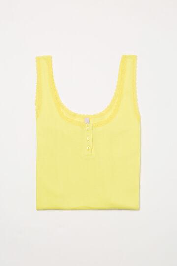 Canotta pigiama cotone tinta unita, Giallo, hi-res