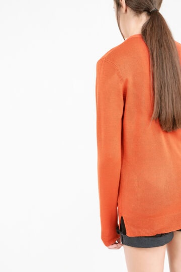 Solid colour knitted cardigan., Orange, hi-res