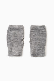 Solid colour webbed gloves, Grey Marl, hi-res