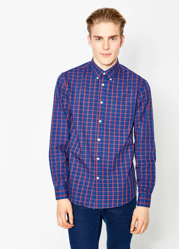 Regular-fit check-patterned casual shirt | OVS