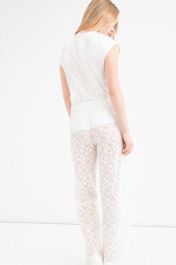 Cotton-viscose blend playsuit., Milky White, hi-res