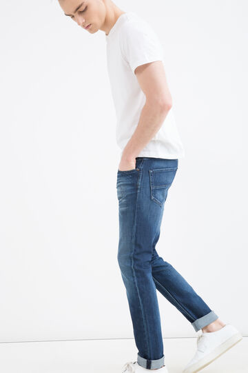 Used-effect, slim-fit stretch jeans