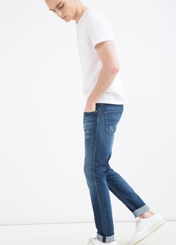 Used-effect, slim-fit stretch jeans | OVS
