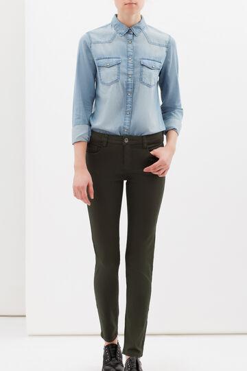 Pantaloni stretch tinta unita, Verde militare, hi-res