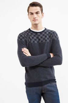 Rumford wool and cashmere pullover with pattern, Blue, hi-res