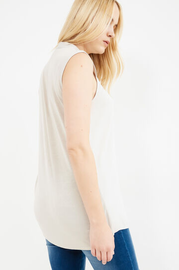 Curvy sleeveless blouse with zip, Chalk White, hi-res