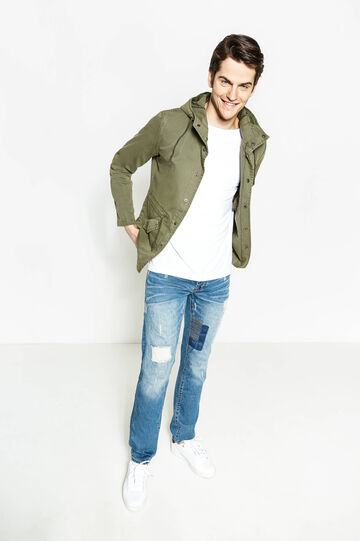Parka with hood and chest pocket, Army Green, hi-res