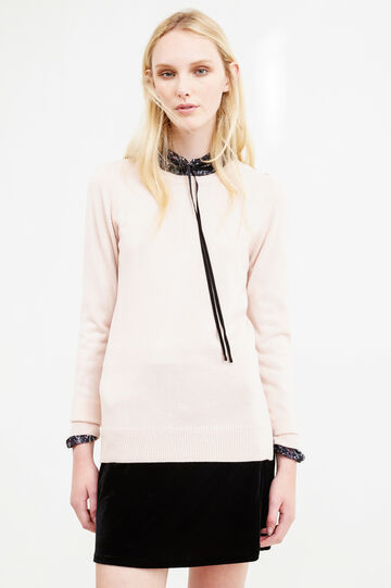 Long pullover with buttons on shoulder, Pink, hi-res
