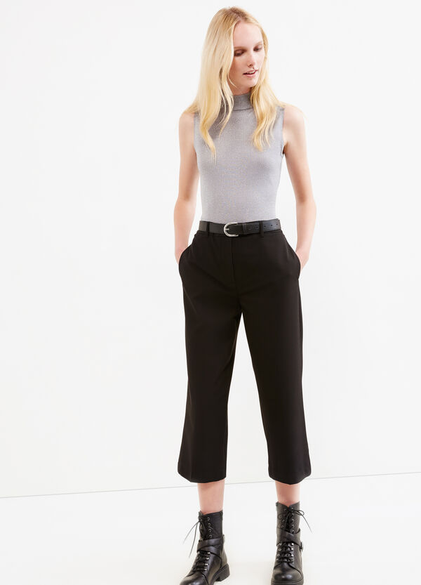 Crop trousers in stretch viscose | OVS