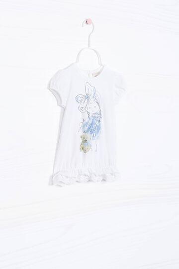 T-shirt stretch fondo a balze