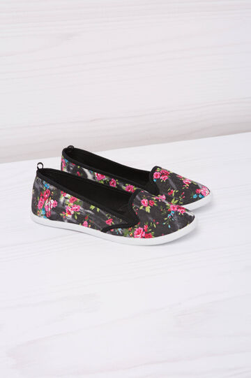 Floral patterned slip-ons, Black, hi-res