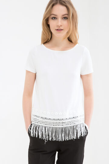 Stretch blouse with fringe