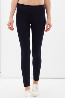Stretch gym leggings with zip., Dark Blue, hi-res