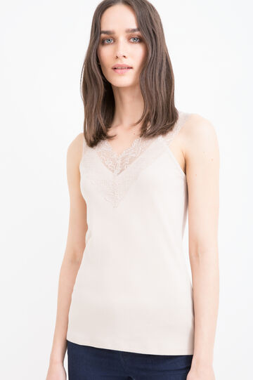 100% cotton top with lace, Sand, hi-res