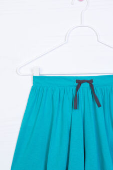 Gonna pantalone misto cotone, Verde, hi-res