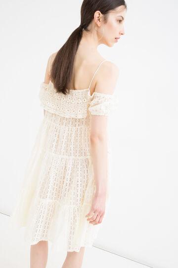 Cotton openwork dress, Milky White, hi-res