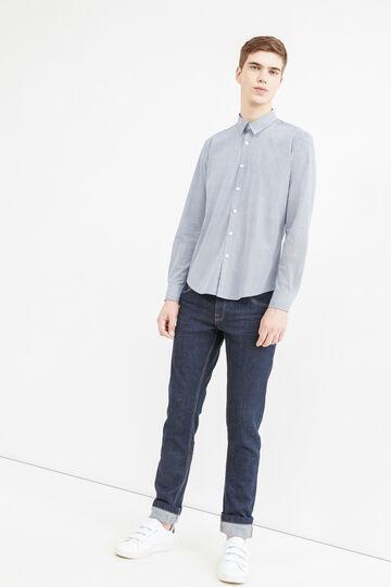 Camicia casual stampata cotone, Blu, hi-res