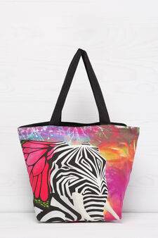 Cotton shopping bag with print, Multicolour, hi-res