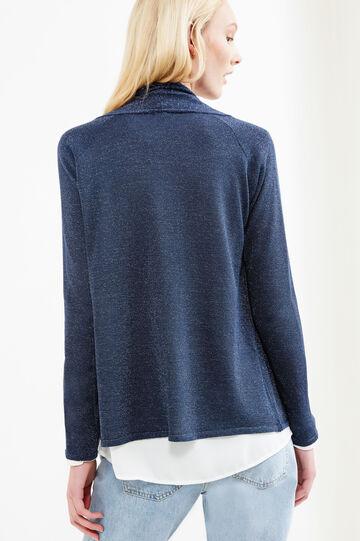 Glitter cardigan with shawl neck, Blue, hi-res